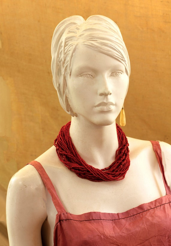 Vintage Ethnic Multi Layer Necklace, Red Fake Mult