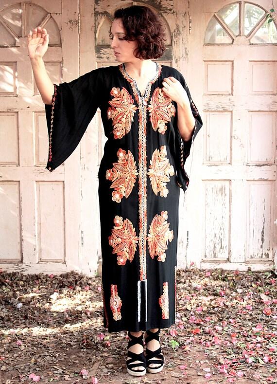 Flaming Long, Kaftan Dress, Galabiya 60s, Vintage