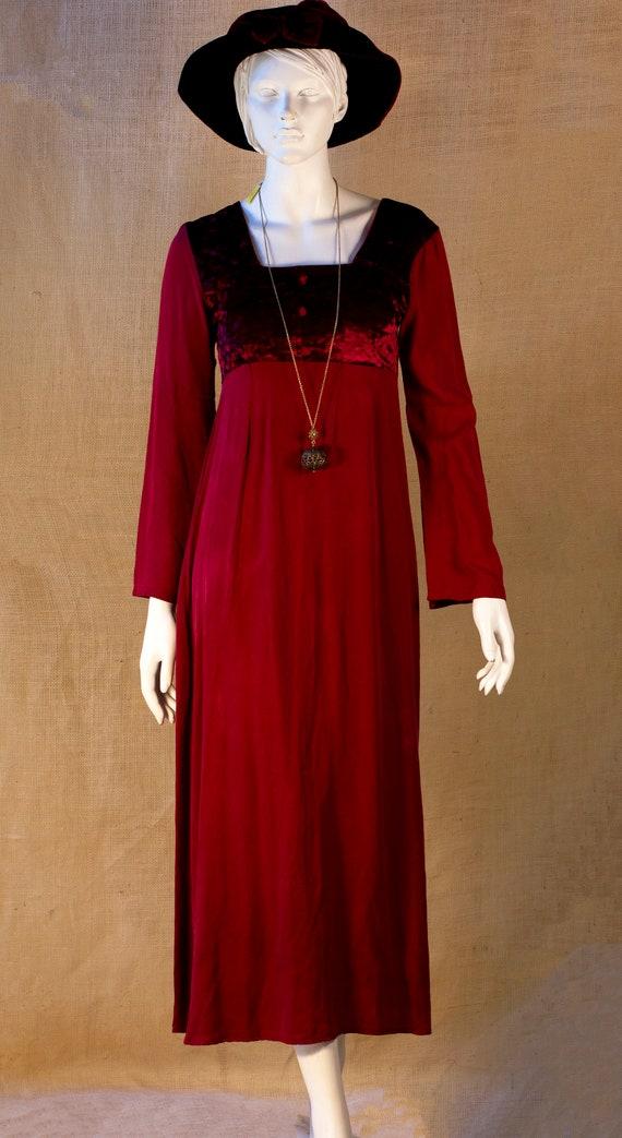Red Boho Dress, Red Cotton Boho Dress, Red Hippie
