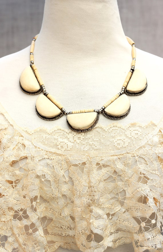 Chunky tribal, Tribal Ethnic Bone, Necklace in Cre