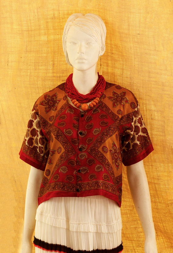 Blouse Silk Paisley, Silk Designer, Silk Arabesque