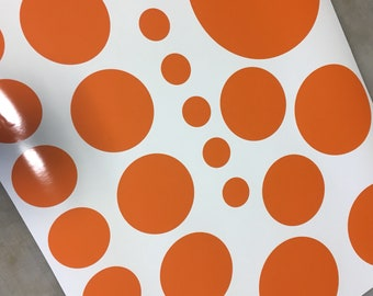 Redding peel and stick archery dots, Orange vinyl redding archery target dots