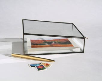 The Larger EDGE Clear Glass Photo Display Box for prints, Collections, Jewelry