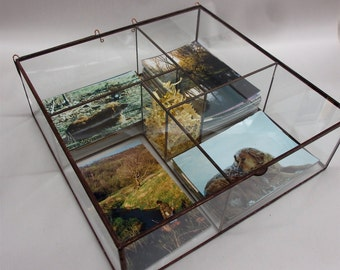 The QUAD Clear Glass Photo Box with USB tower center.... holds 1200 prints!