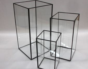 """Shorter and Wider Grouping of Three 6"""", 5"""", 3"""" Square Vessels for Candles, Floral Arrangements, Open Top, Hurricane Lamp"""