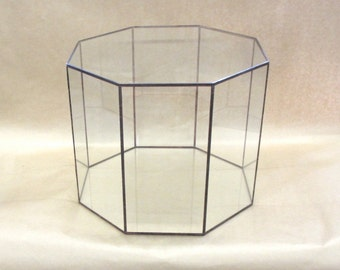 """12"""" diameter x 10"""" tall Octagon Glass Hat Box Display Case - for special treasures"""