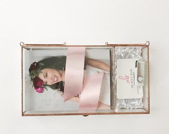"""NEW! Glass Photo Box with 2.5"""" USB compartment - three sizes - Display Box"""