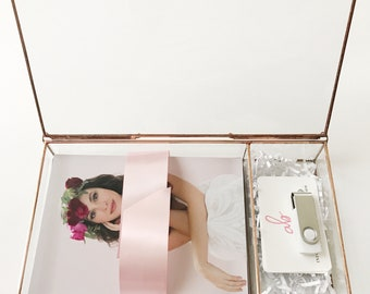 """3"""" DEEP Glass Photo Box with 1.5"""" or 2.5"""" USB compartment - lots of sizes - Display Box"""