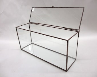The LETTER BOX Clear Glass Display Box made to hold #10 envelopes - Hinged Top - Jewelry - Collections
