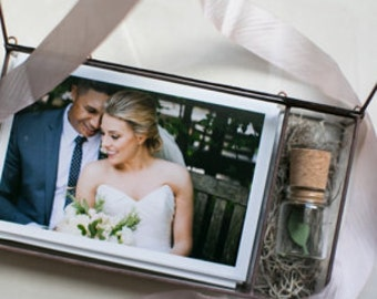 """NEW! Glass Photo Box with 1.5"""" USB compartment - lots of sizes - Display Box"""