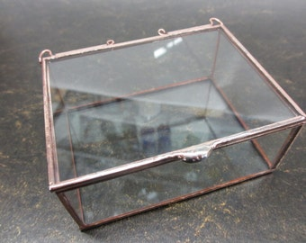 """3.5"""" x 5"""" SMALL Clear Glass Photo Image Box holds 3.5"""" x 5"""" photos"""