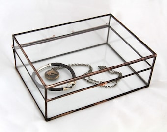 NEW! Recipe Box Style Clear Glass Photo Display Box--Three sizes--Your prints will fit!