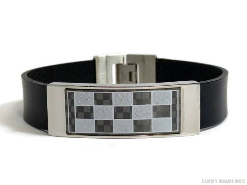 Checkered leather bracelet mens leather bracelet stainless bracelet wide bracelet flat leather bracelet black bracelet mens gift FLB15-12-01