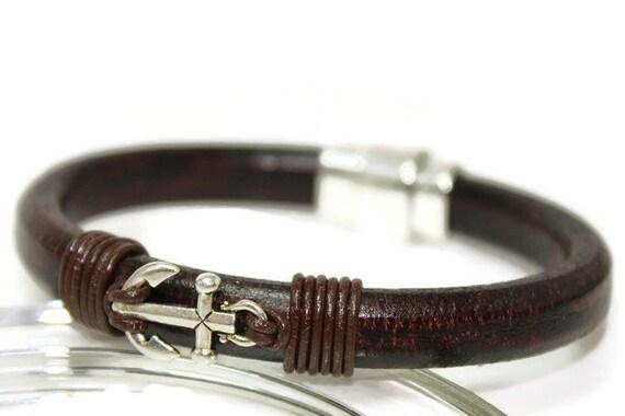 Bracelet en cuir homme ancre