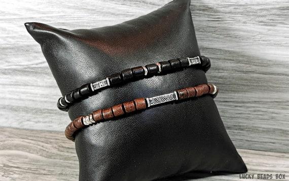 Beaded bracelet man bracelet simple bracelet Greek ceramic beads beaded jewelry black bracelet mens gift stretch bracelet BB-37-01