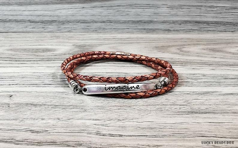Imagine bracelet message bracelet braided leather bracelet wrap bracelet brown leather bracelet women bracelet womens gift RLB3-36-02