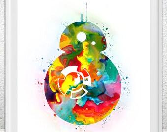 Stars wars bb-8 art - movie poster - BB-8 art - Watercolor painting