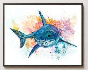 Shark Art Print Nursery Decor Great White Nautical Beach Bathroom Sea Life Art Animal Illustration Coastal art
