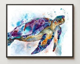 Sea Turtle Watercolor Art Print Nursery Decor Nautical Beach Bathroom Sea Life Art Animal Illustration Coastal art
