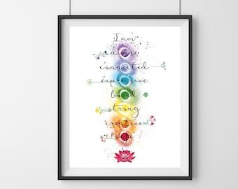 Colorful Chakra meditation Print - Chakra healing -mediation print - Yoga studio decor - Mindfulness gift - Chakra Art - Yoga Art decor
