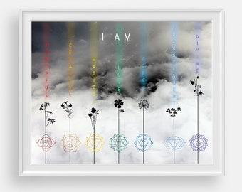Cloud photo with 7 chakras print, yoga meditation art with cloud wall print, inspirational quote art print, mindfulness gift