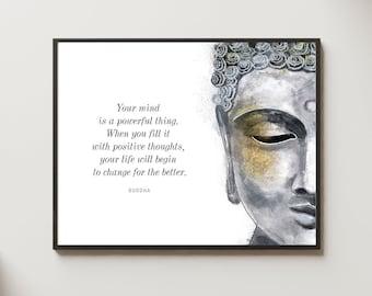 Unique Buddha head quote wall art painting, Your mind is... buddhist spiritual decor , yoga art print, buddhism boho decor, Buddha Statue