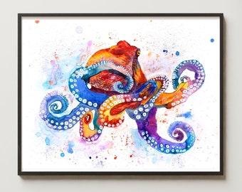Watercolor Giant Octopus Art Print Nursery Decor Nautical Beach Bathroom Sea Life Art Animal Illustration Coastal Ocean Contemporary Art