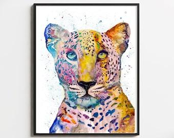 Leopard Wall Art Print Decor Animal Illustration Nursery Home Decor Gift Wildlife Contemporary Colorful Wall Art Jungle Big Cat