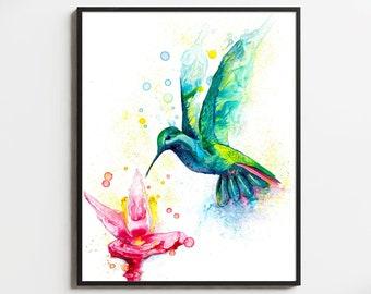 Hummingbird And Flower Art Print Nursery Decor  Bathroom Art Flying Bird  Illustration  Contemporary Art Hummingbird Gifts For Women