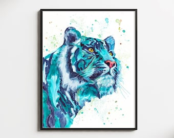 Turquoise Tiger Watercolor Painting Print Animal Illustration Home Decor Nursery Gift Wildlife Wall Art Tiger Lover Jungle Big Cat
