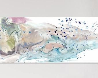 Large canvas wall art Painting canvas art - Neutral color - canvas art - bird art- rolled canvas