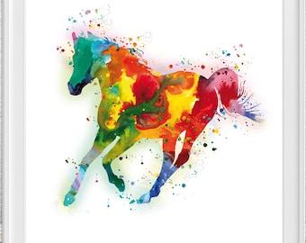 Watercolor Horse print art - colorful - Horse print art - painting