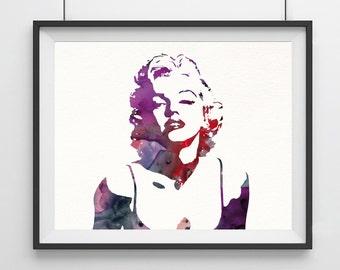 Marilyn Monroe art - watercolor - Marilyn Monroe - modern decor