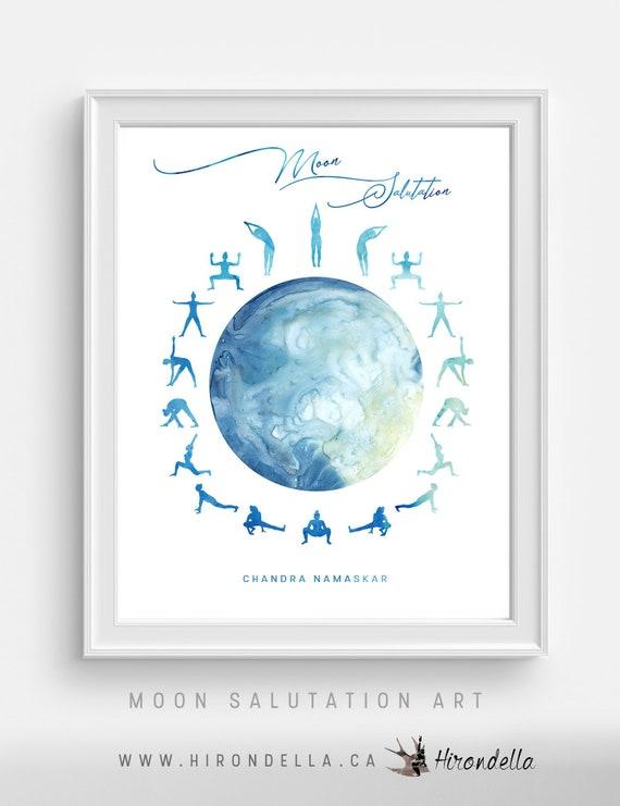 Moon Salutation Yoga Pose Gift For Her Meditation Studio Wall Etsy