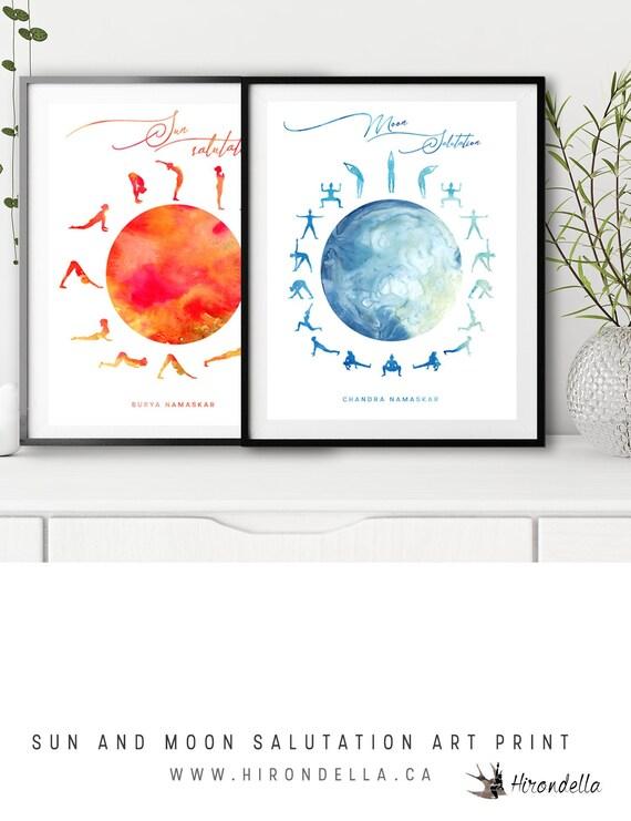 Sun And Moon Salutation Yoga Boho Decor Yoga Pose Poster Etsy