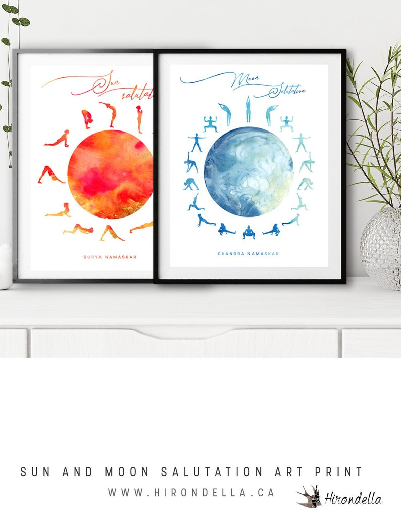Sun and Moon Salutation Yoga Boho Decor, yoga pose poster, Meditation  Studio Wall Art Mountain Pose Sanskrit Namaskar, spiritual gifts