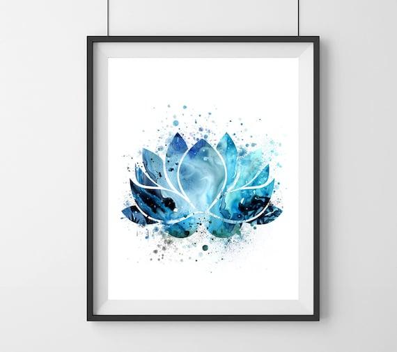 Blue lotus flower symbol watercolor blue lotus flower etsy image 0 mightylinksfo