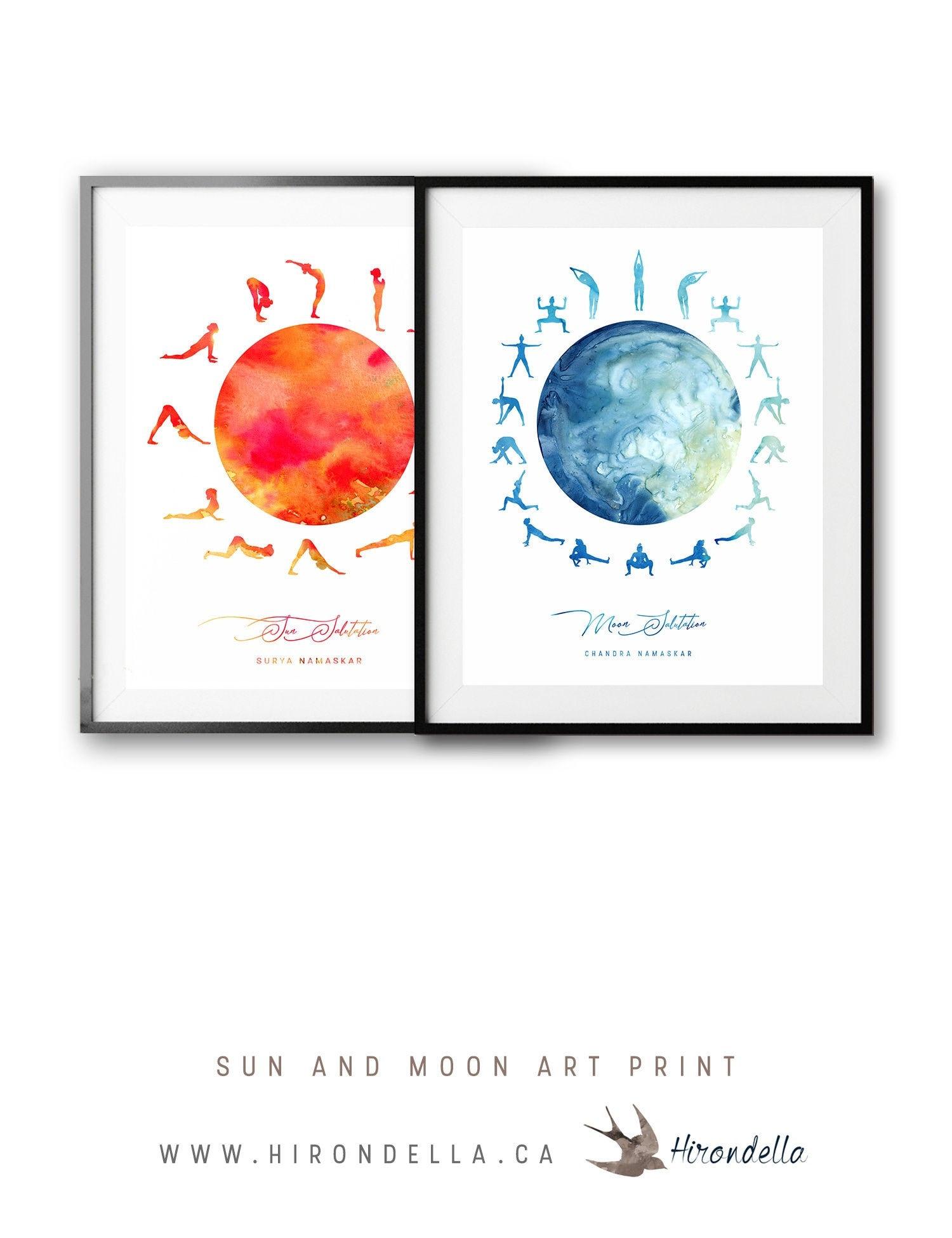 Sun and Moon Salutation Yoga Boho Decor, yoga pose poster, Meditation  Studio Wall Art Mountain Pose Sanskrit Namaskar, spiritual gifts
