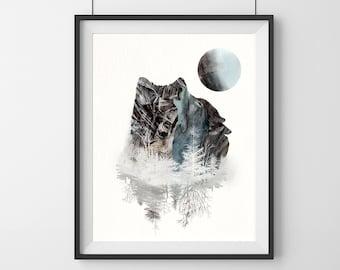 Watercolor Wolf Art - wedding gift - Wolf art - home decor