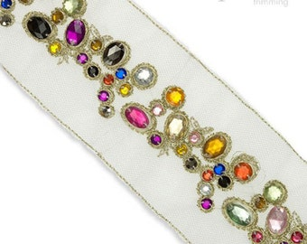 """3"""" Embroidered Jewel Border : 380028BE"""