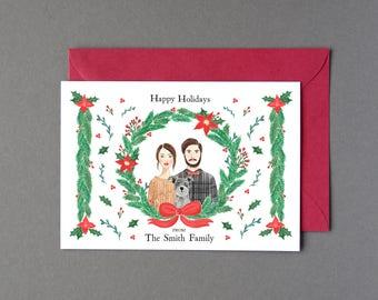 Holiday Custom Illustrated Family Portrait Member/ Pine Wreath Christmas Holiday Card ( Digital File, Printable DIY)