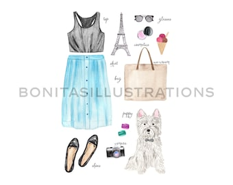 Watercolor Fashion Illustration/ Paris Fashion/ Commercial Use/ Poster Card/ Design Elements/ Scrapbook / Instant download