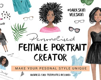 Personalised Watercolor Portrait Creator for Females | Custom portrait creator | Avatar creator | DIY pack for portrait creator