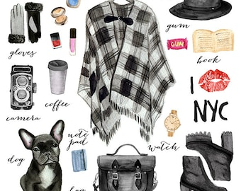 Watercolor Fashion Illustration/ New York Fashion/ Commercial Graphics/ Cute Black Bulldog/ Design Elements/ Scrapbook / Instant download