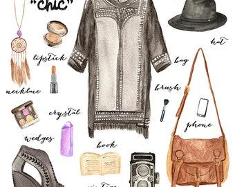 Watercolor Fashion Illustration/ Boho Fashion/ Commercial Graphics/ Poster Card/ Design Elements/ Scrapbook / Instant download