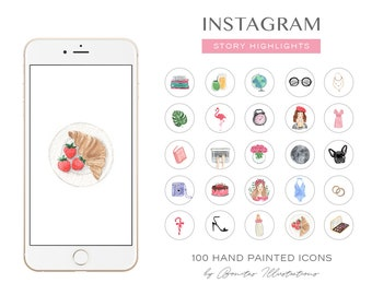 100 Instagram Story Highlight  Icons, Delicate Watercolor Instagram Icons,  Feminine Highlight Icons, Highlight covers