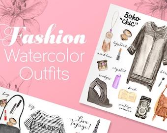 100 Watercolor Fashion Illustration Elements/  Commercial Use/Summer Fashion/Clip Art Fashion Set/Big Bundle/Printable DIY (Digital File)