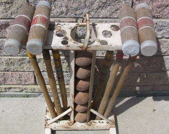 Vintage Croquet Set Wood Mallets Balls Metal Stand Weathered & Worn Shabby Cottage Rustic Farmhouse Garden Decor Outdoor Sports Lawn Games
