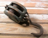 Vintage Barn Pulley Farm Tool Weathered Wood Cast Iron Large Hook Rustic Industrial Farmhouse Decor Antique Hanging Lifting Tool