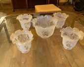 Antique Vintage Set 5 Ruffled Acid Etched Glass Light Shades 1 Lg 4 Sm-Missing Chunk Oil Lamp Replacement Parts Restoration 1900s